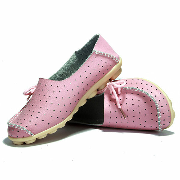 New Women Flats Soft Comfortable Lace Up Casual Fashion Flat Loafers Shoes - 5