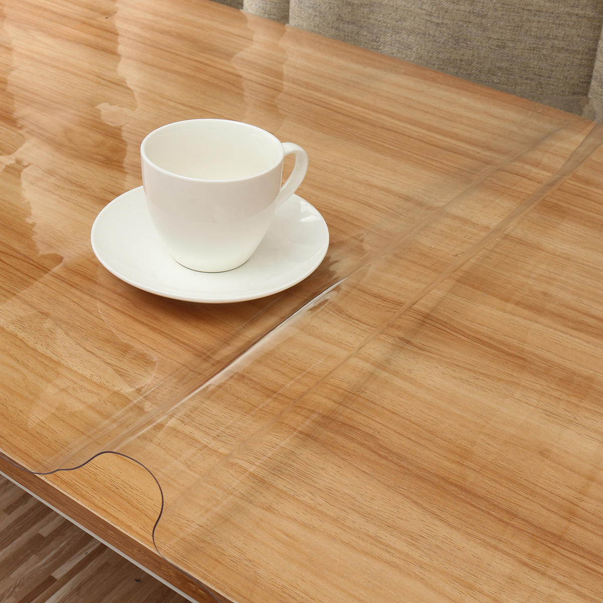 PVC Wipe Clean Transparent Tablecloth Mat Glass Effect Table Protection