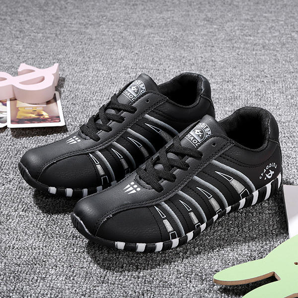Women Casual Breathable Mesh Lace Up Non-slip Sneakers - 4