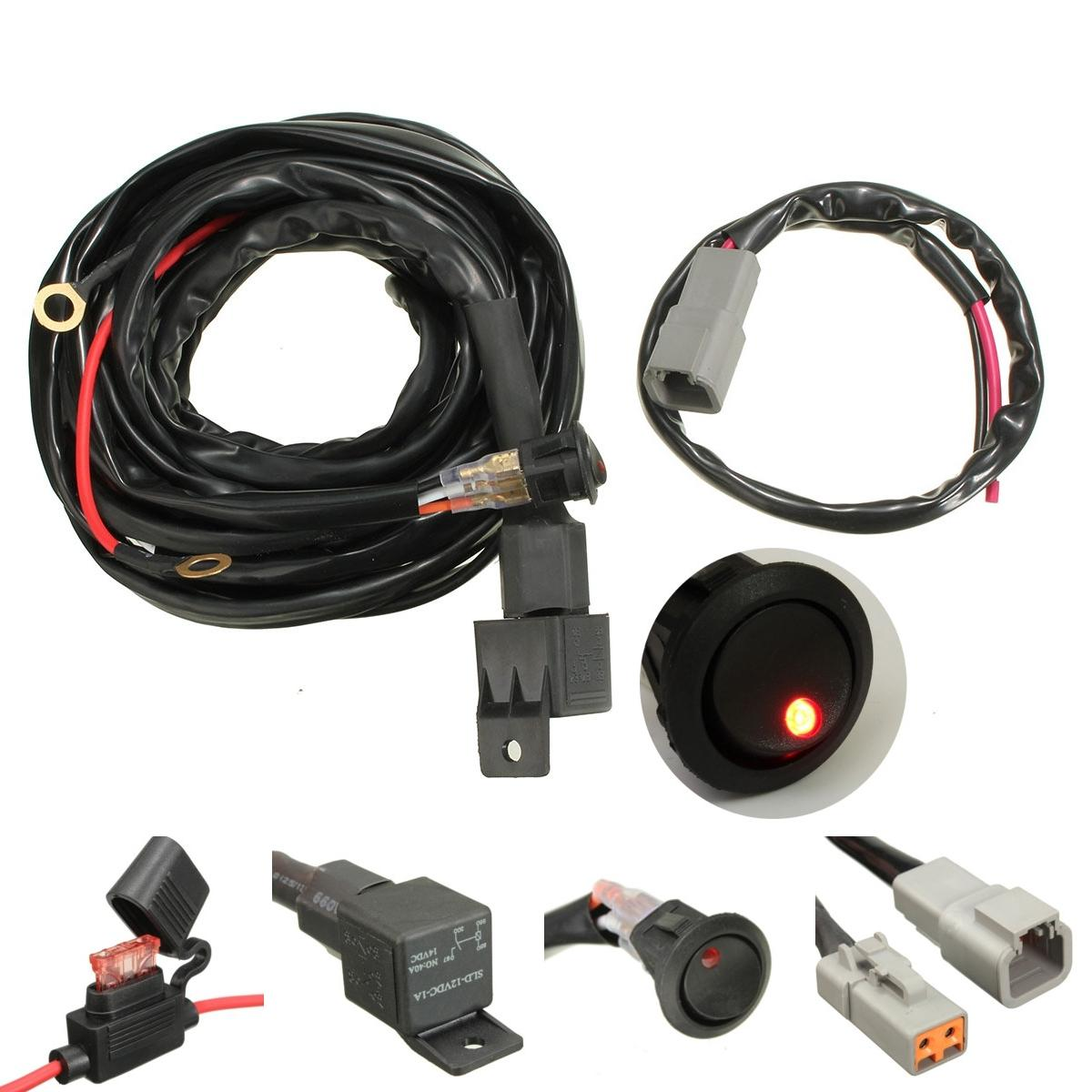 40a relay 300cm wiring harness kit on off switch for led spot lightts work  fog light cod