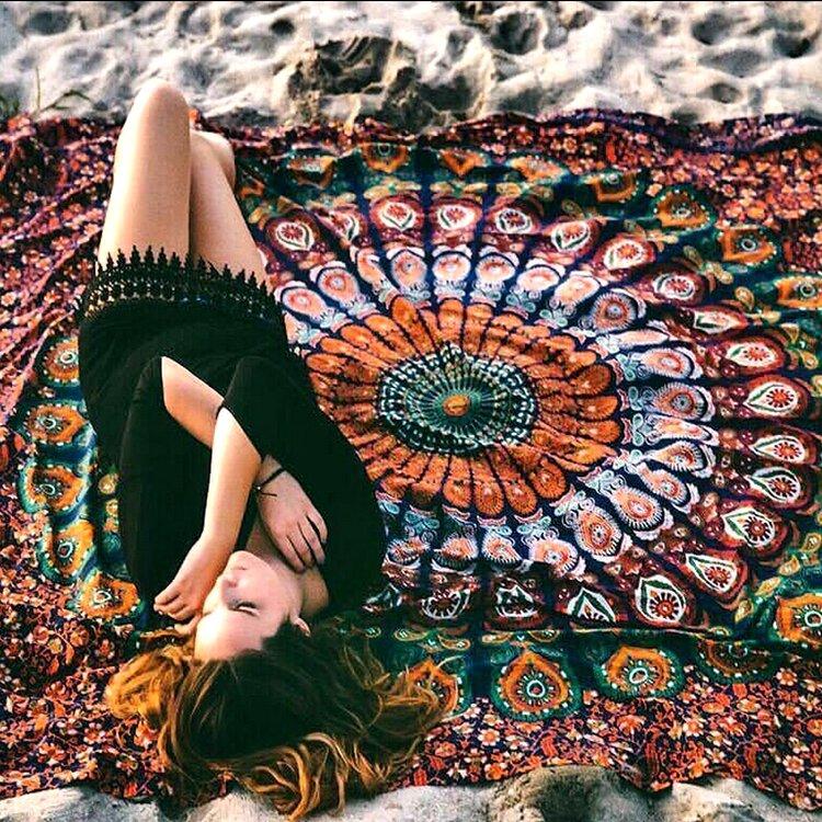 Honana WX-99 New 150x210cm Bohemian Style Polyester Fiber Beach Mat Tapestry Mandala Rectangle Bed Sheet - 2