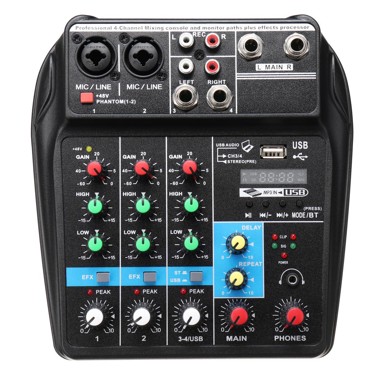4 Channels USB Portable Mixer bluetooth Record Live Studio DJ Audio Mixing  Console