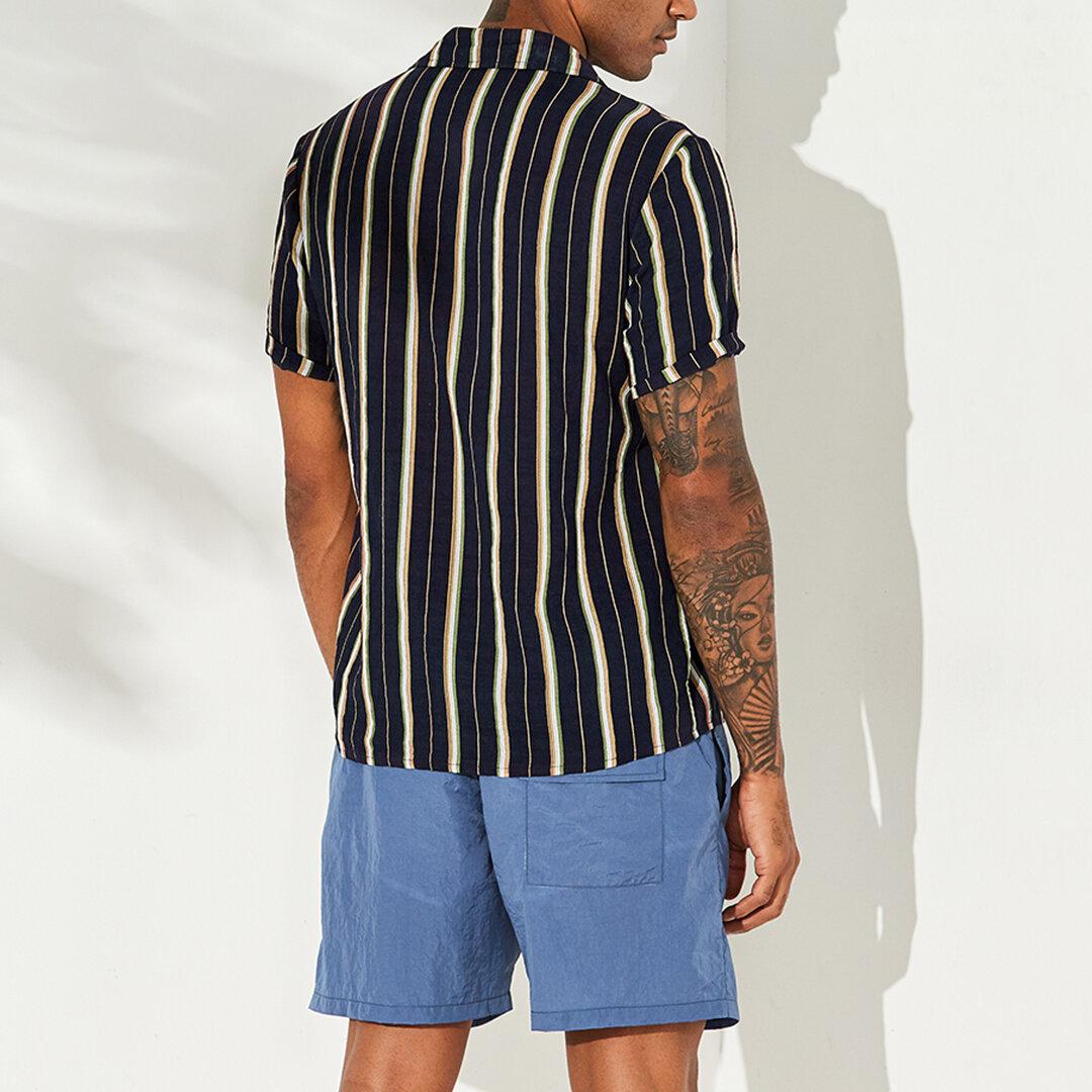Mens vertikal gestreiften Sommer Kurzarm Casual Fashion Shirts - 4