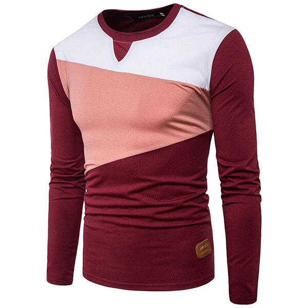 1e4fe56b Stylish Hit Color T-shirt Men's Casual O-neck Long Sleeve Tops Tees