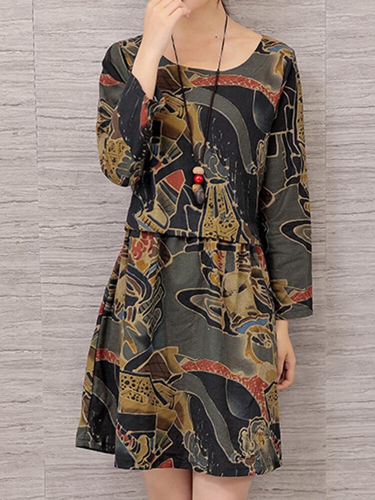 विंटेज महिला पुष्प मुद्रित लंबी आस्तीन लूज कपड़े