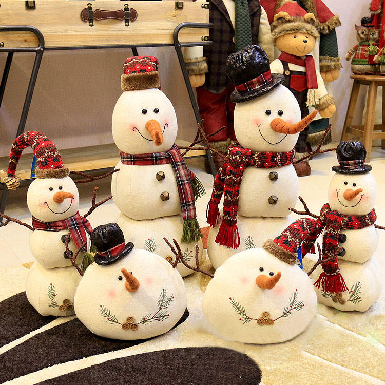 Christmas 2017 Linen Snowman Dolls Ornament Table Desk Decoration Christmas Gifts for Kids - 1