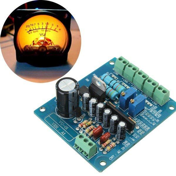 AC 12V Stereo VU Meter Driver Board Amplifier DB Audio Level Input Backlit