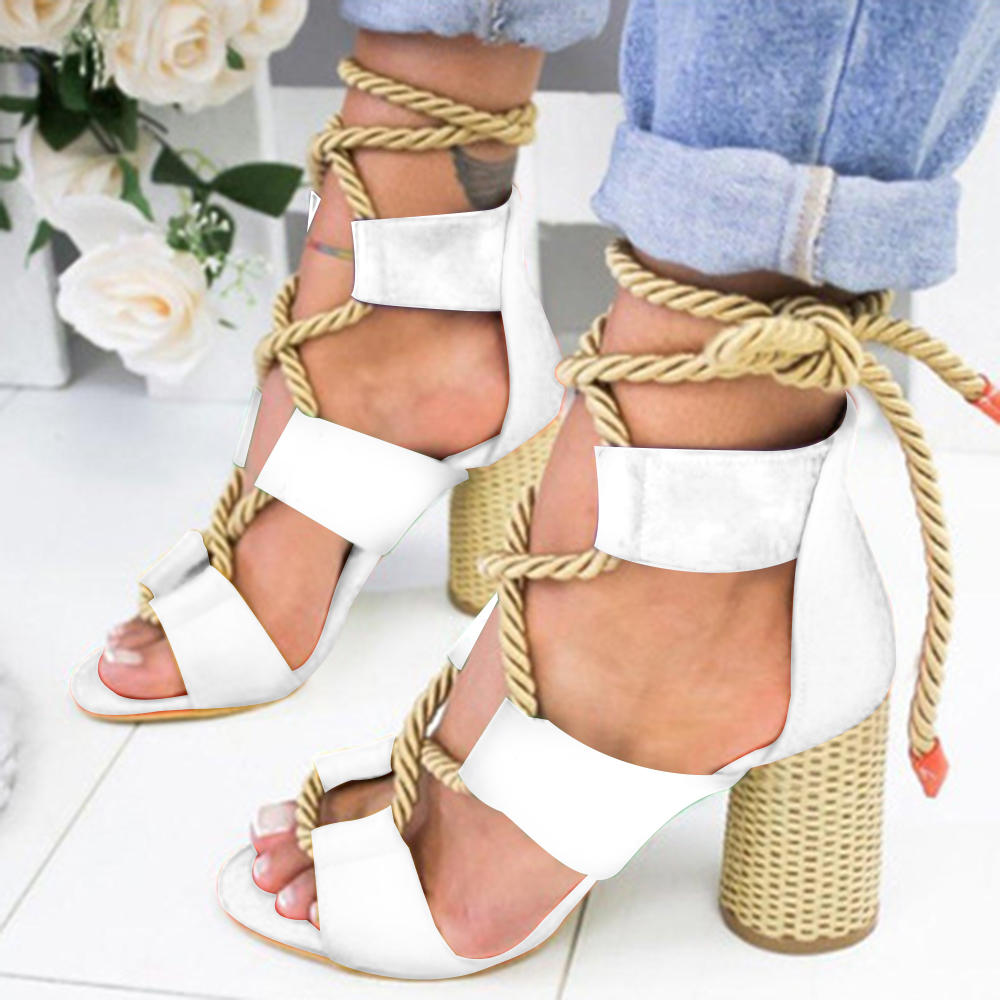 Colorful Casual Suede High Heeled Lace Up Sandals - 11