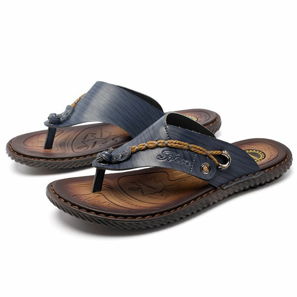 Men Casual Breathable Mesh Soft Bottom Hand-stitched Sandals - 3