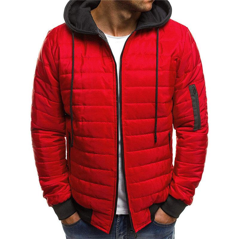 Heren gewatteerde gewatteerde jas contrasterende kleur Hooded Winter Warm bovenkleding jassen - 2