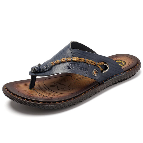 Men Casual Breathable Mesh Soft Bottom Hand-stitched Sandals - 2