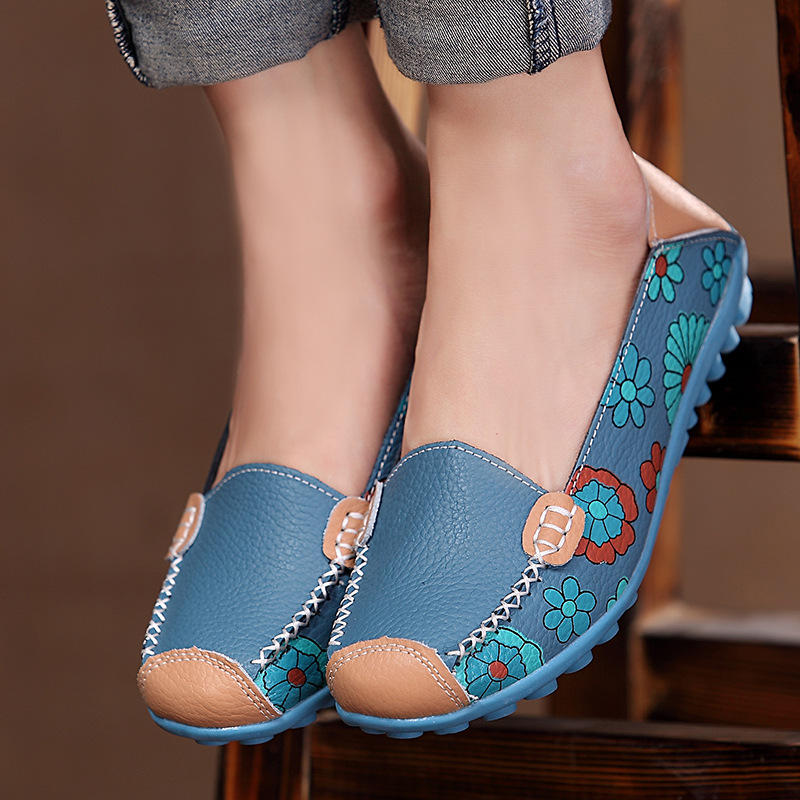 Big Size Women Flower Floral Leather Loafers Moccasins Flats Soft Ballet Shoes Round Toe Flats - 3