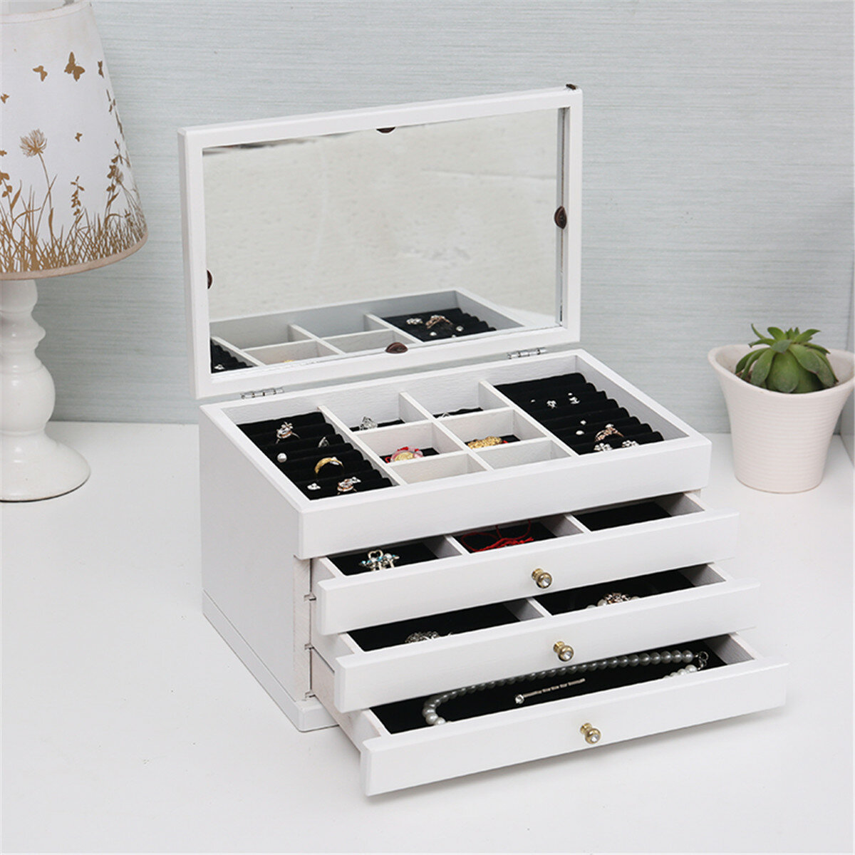 Fashion Jewelry Storage Box Leather Earrings Necklace Rings - 11