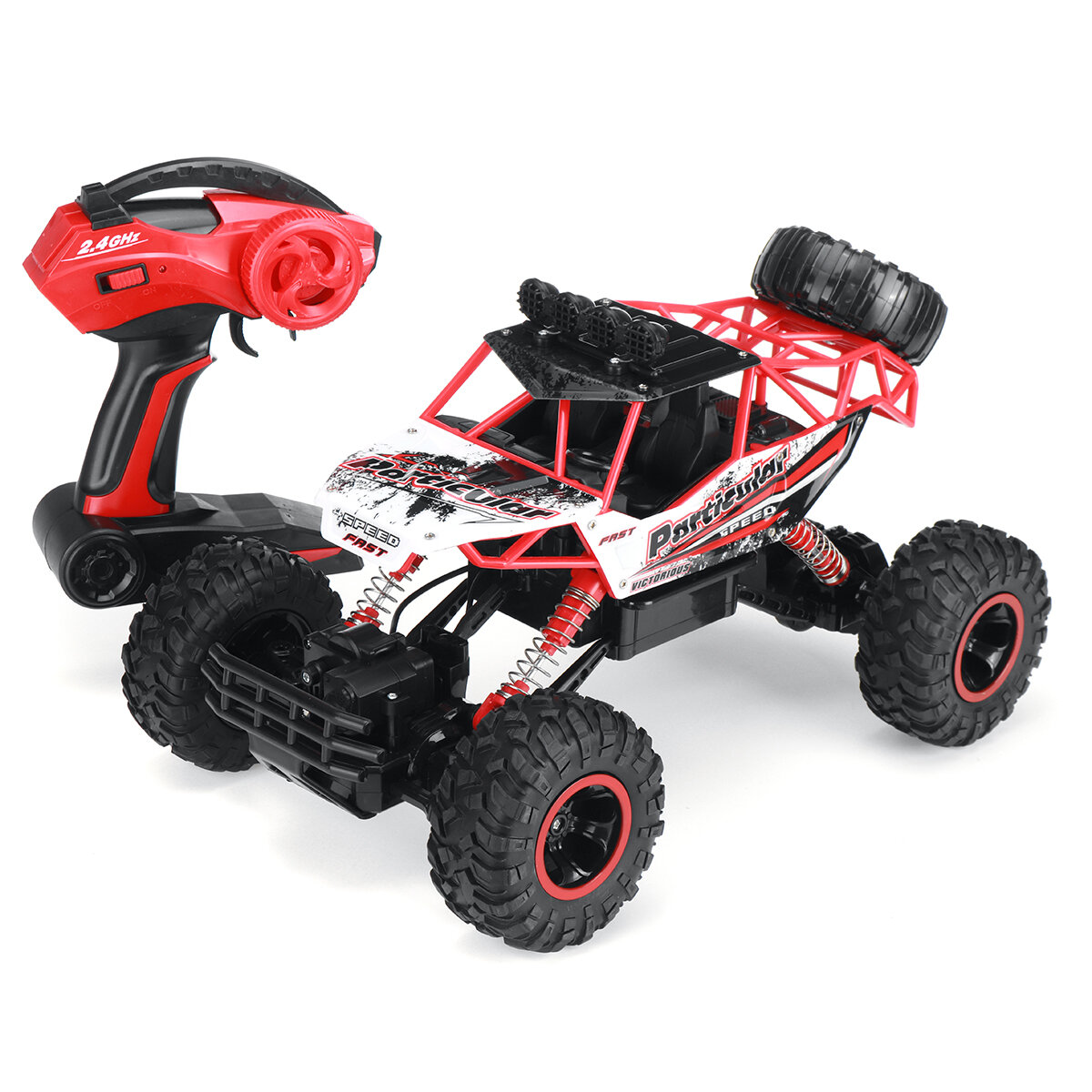 1/12 Alloy Metal RC Car with Two Rechargeable Batteries 4WD 2.4G Off Road Big Foot Crawler RC Vehicle Models