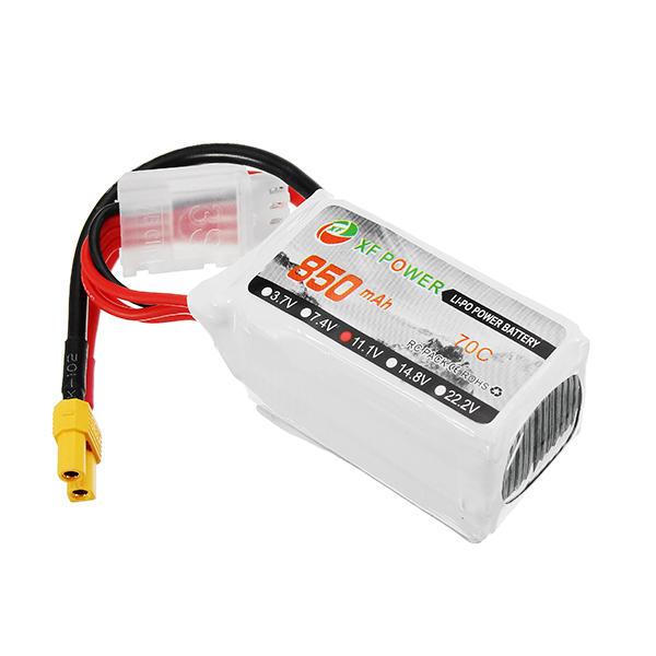 एक्सएफ पावर 11.1V 850 एमएएच 3 एस 70 सी लिपो बैटरी एक्सटी 30 प्लग