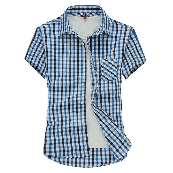 ग्रीष्मकालीन व्यापार शर्ट्स आरामदायक पुरुषों शॉर्ट्स आस्तीन स्लिम फ़िट प्लेड बटन शर्ट्स