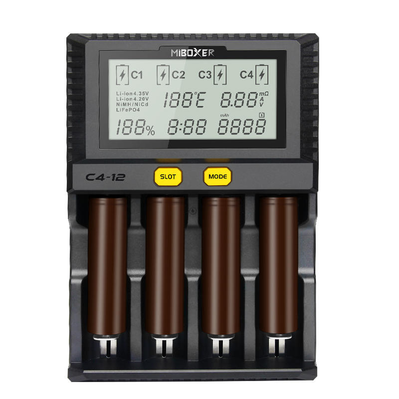 Miboxer New C4 12 LCD Adjustable Intelligent Battery Charger 4 Slots Multiple Battery For 18650 26650 AAA Li ion Ni MH Ni Cd Battery - 1