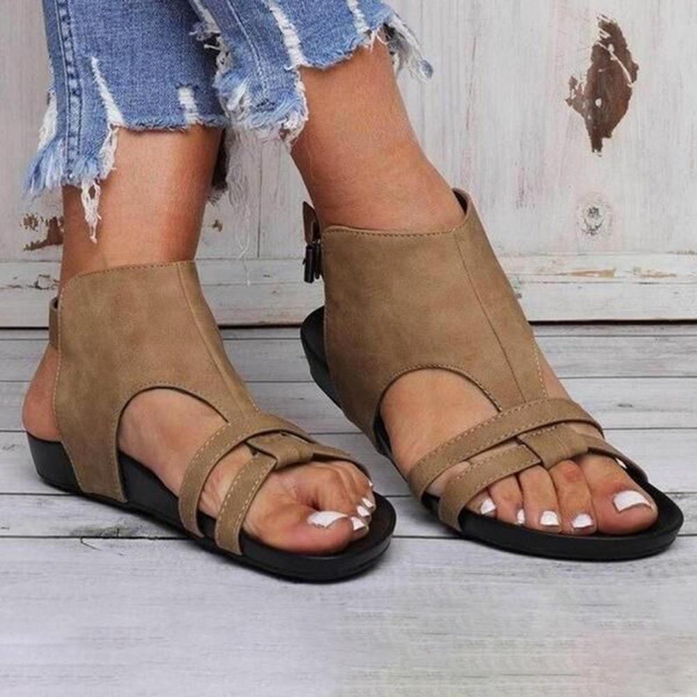 Large Size Women Flats Sandals Comfy Sole Buckle Strap Shoes