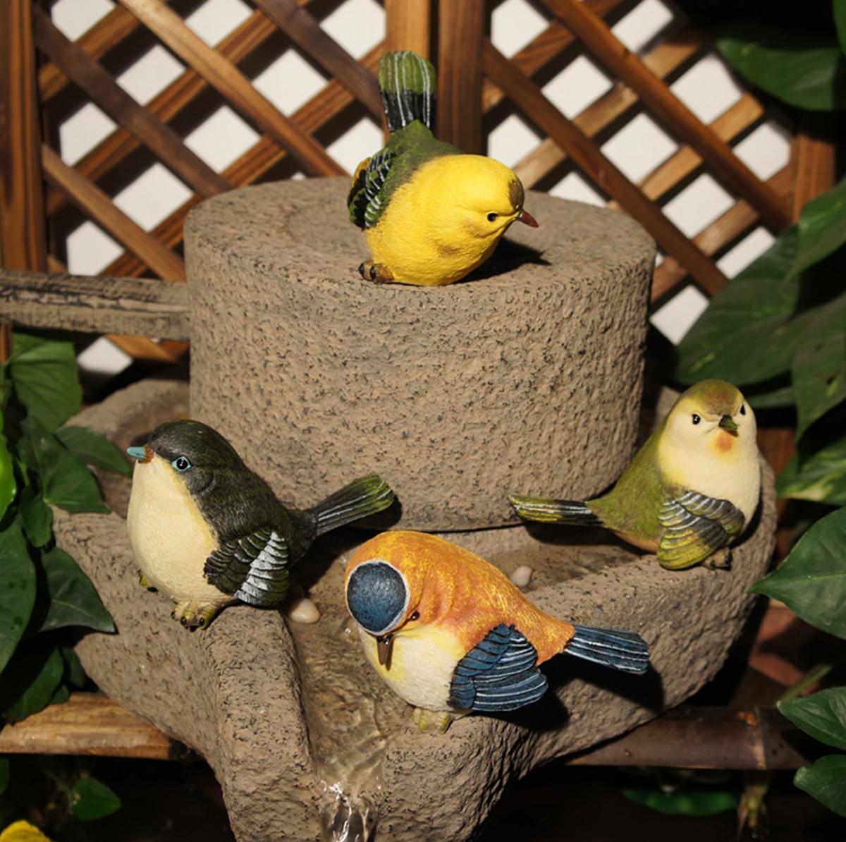 4 Pcs/Set Resin Birds Statue Figurine Home Garden DIY Bonsai Desk Decor Ornament Decorations - 10