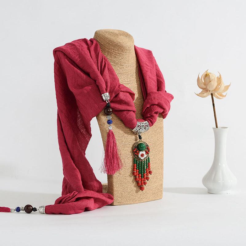 Collana delle donne multifunzionali femminili della sciarpa del cotone della nappa della perla del branello del fiore della Boemia - 6