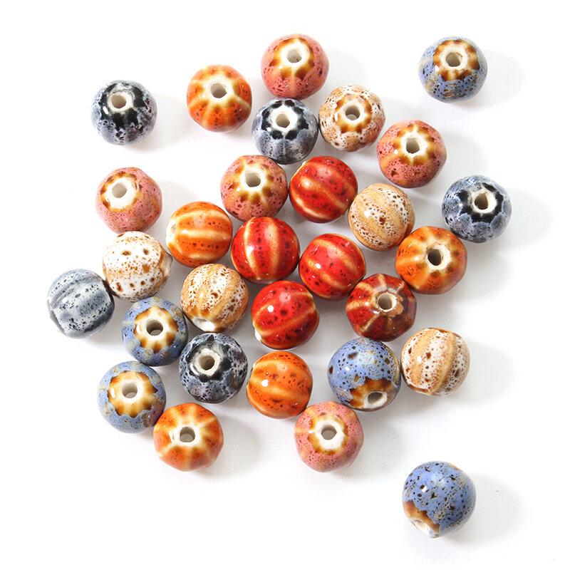 12mm 5Pcs Ceramic DIY Jewelry Flower Glaze Watermelon Shape Loose Beads - 1