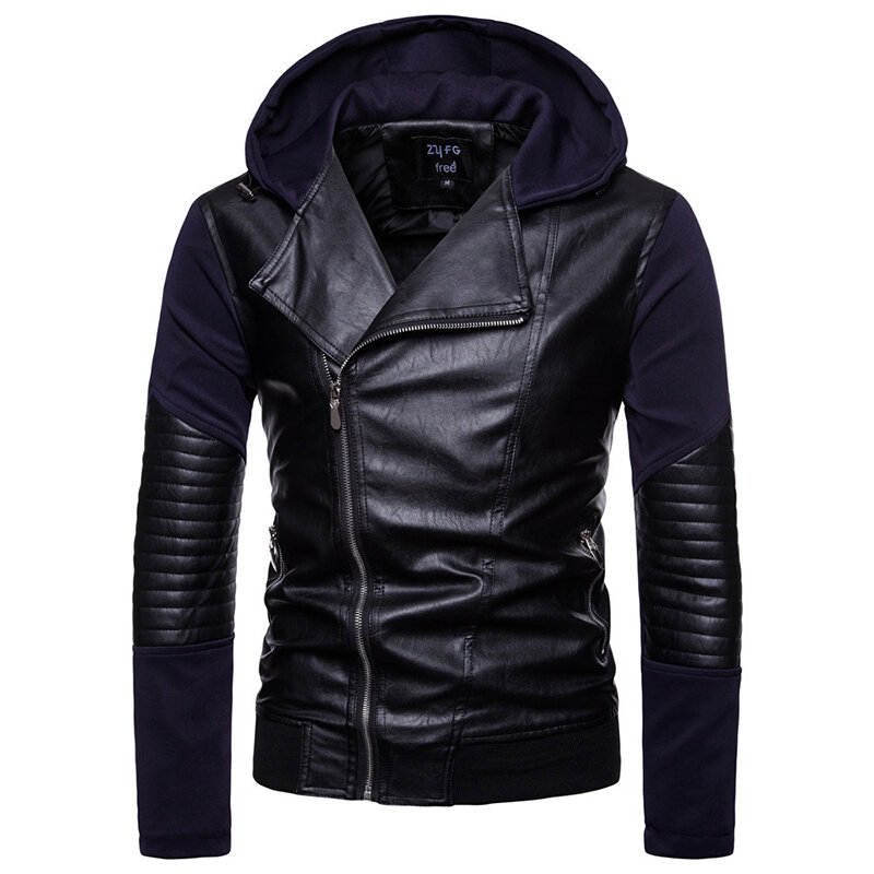 Mens Casual Stand Collar Thick Warm Leather Jacket - 1