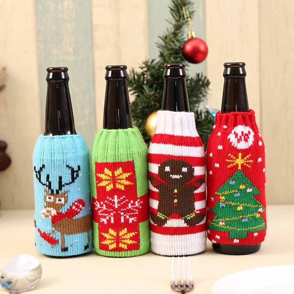 Christmas Snowman Deer Knitting Stockings Candy Gift Bags Beer Wine Bottle Cover Set Christmas Decor - 1