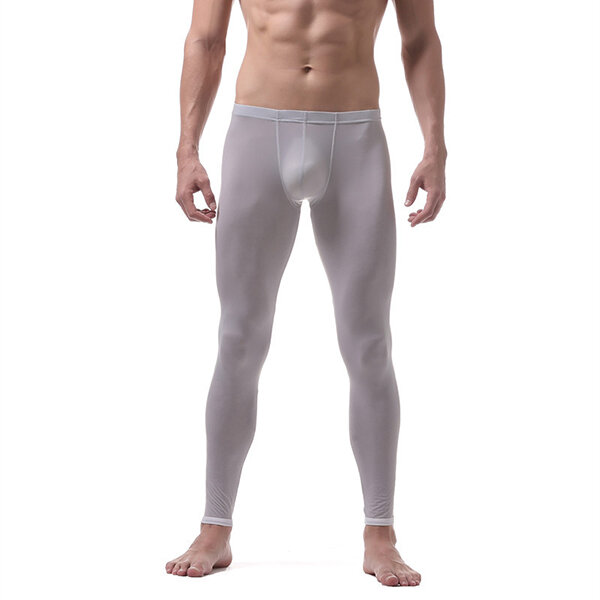 6e75ad4d4 Mens Ice Silk Long Johns Thin Translucent Thermal Underwear Sleepwear  Bottoms