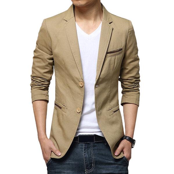 Mens linen casual trim style single suits jacket - 7