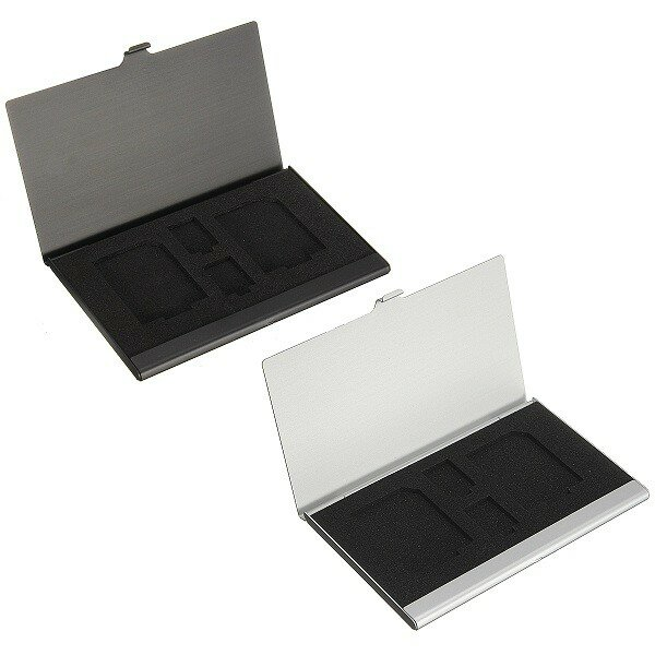 4 in1 Metal Aluminum Memory Card Storage Holder Box Protector Case for 2xTF 2xSD - 1