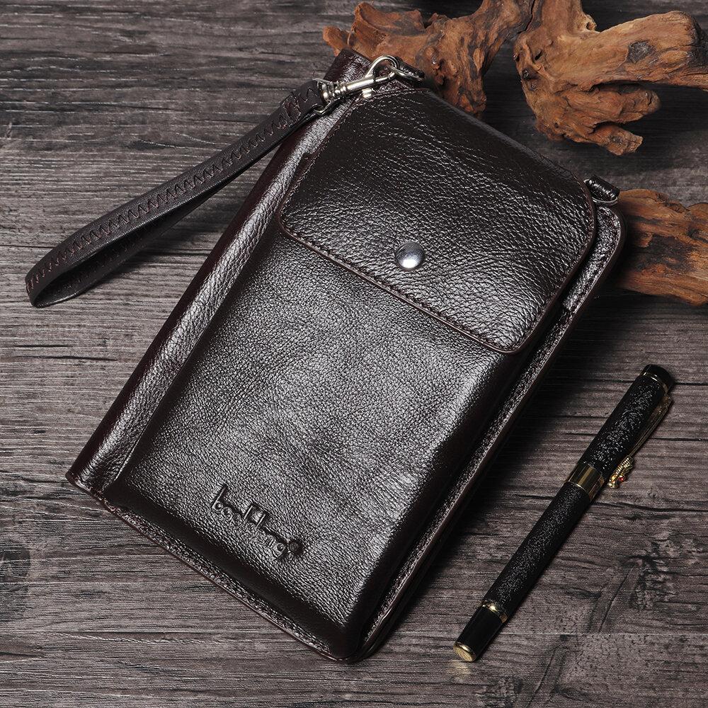 Men Leisure Casual Phone Bag Long Wallet 8 Card Slots Clutch Bag Crossbody Bag