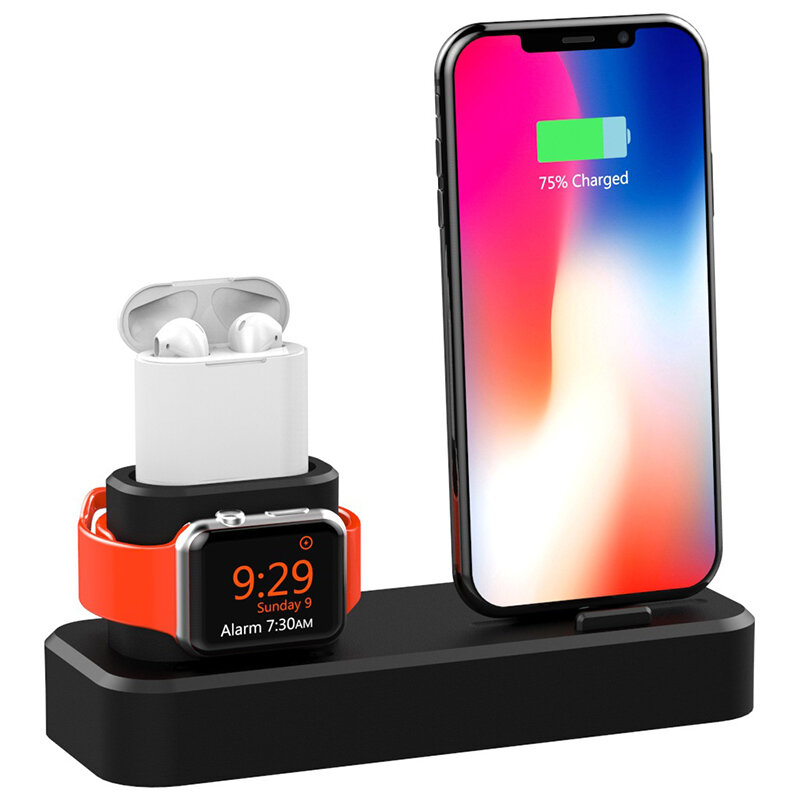online store 2b5da 6804d 3 in1 Charging Dock Station Phone Holder Stand For iPhone XS Max XS XR  Apple AirPods Apple Watch Series 1 2 3 4