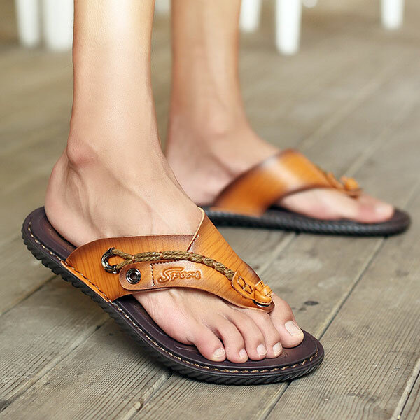Men Casual Breathable Mesh Soft Bottom Hand-stitched Sandals - 7