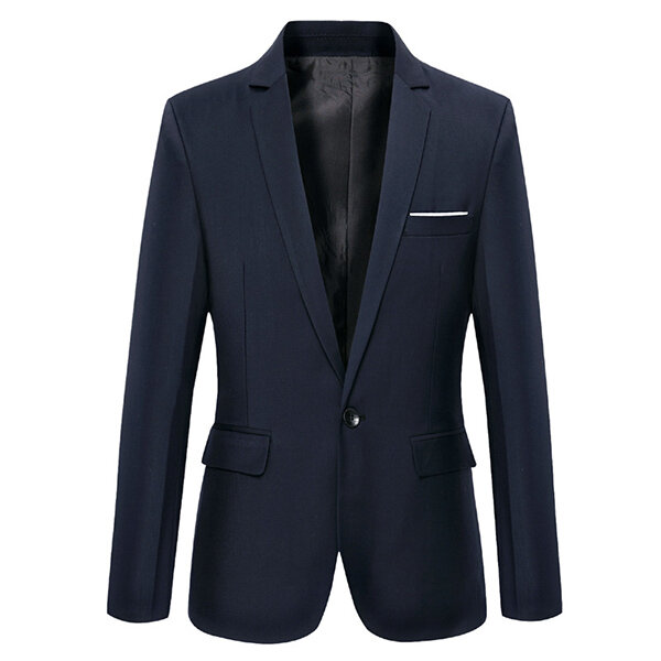 Mens Stylish Stand Collar Slim Suit Jacket Blazers - 3