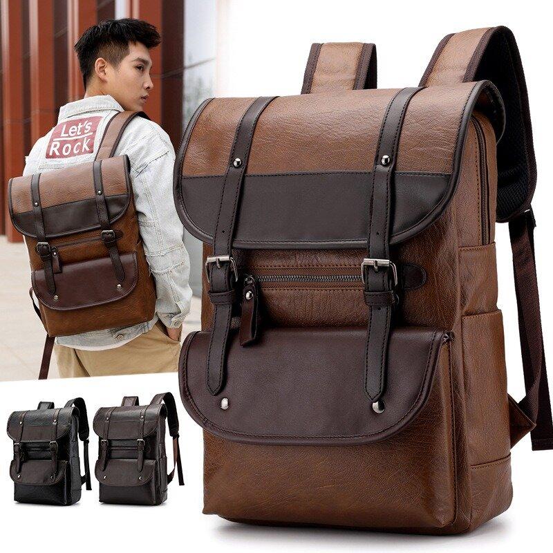 Men Large Capacity PU Leather Backpack Casual Vintage Shoulder Bag