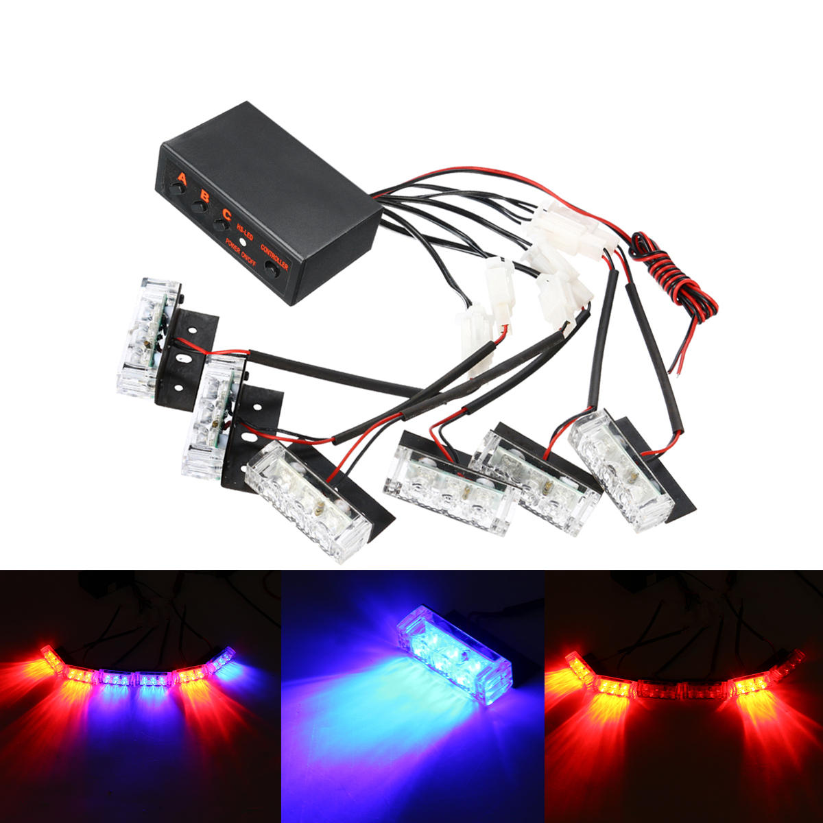 12V LED Red Blue Strobe Flash Lights Emergency Light Police Dash Warning  Signal Lamp Car Motorcycle