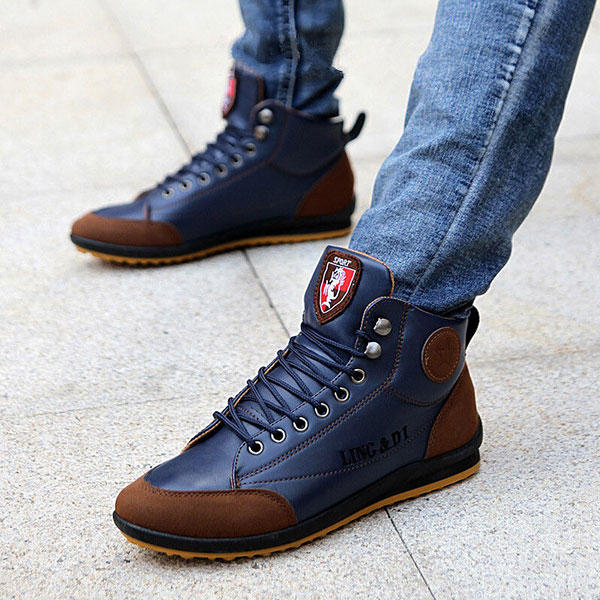 Men Microfiber Leather Hand Stitching Comfy Non Slip Soft Casual Boots - 9