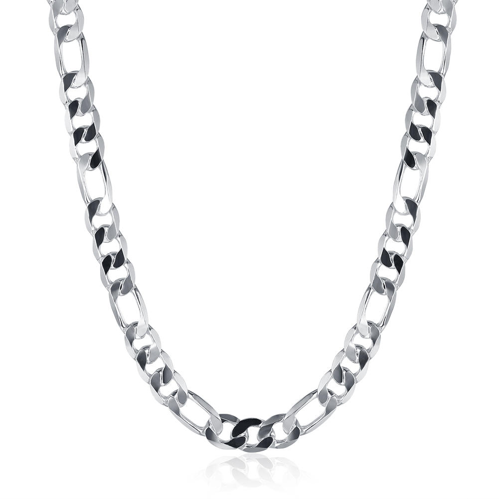 Silver Plated Simple Men Necklace Chain Jewelry Flat Chain - 1