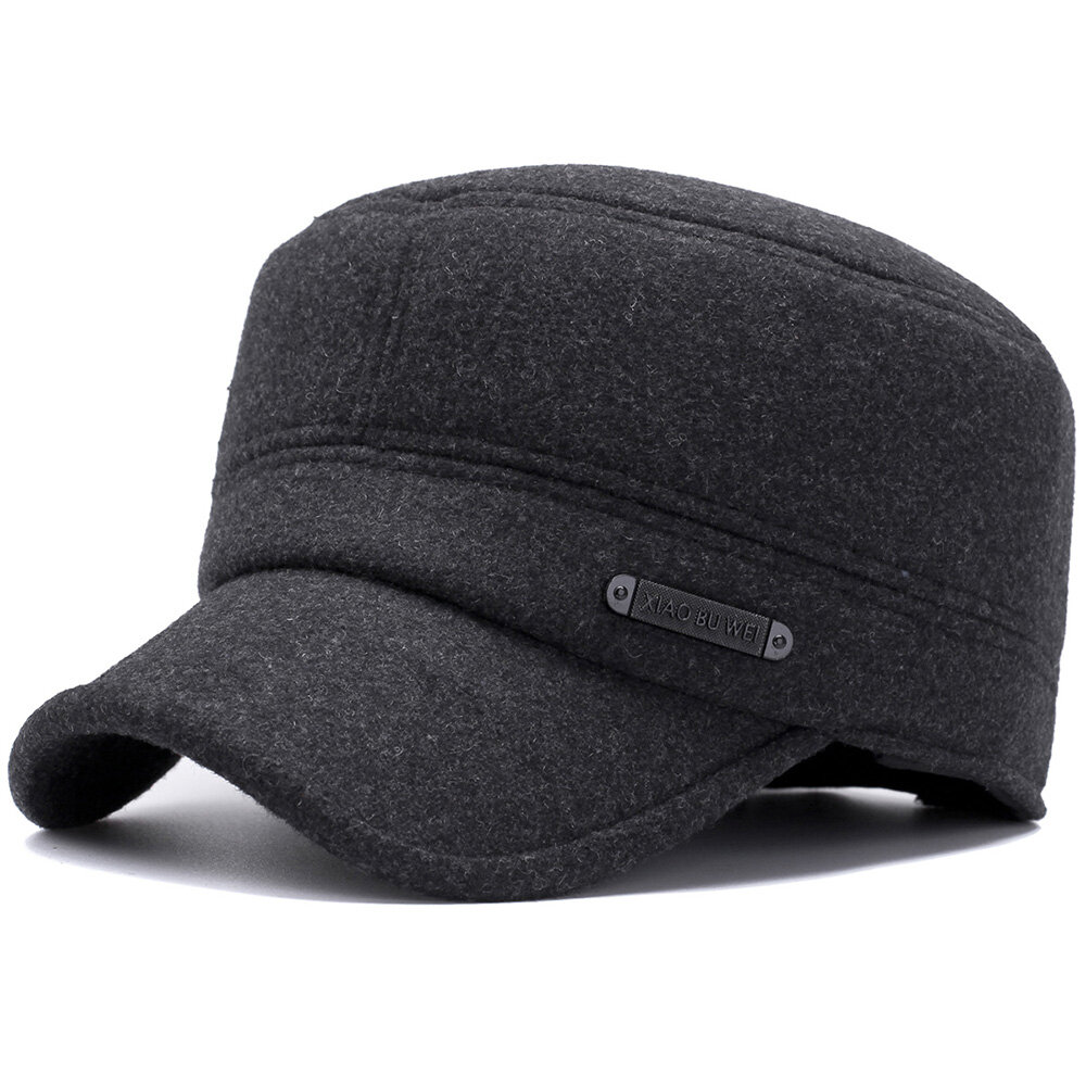 9339f6922 Mens Winter Windproof Earmuffs Cotton Military Style Hat Casual Adjustable  Cadet Army Cap