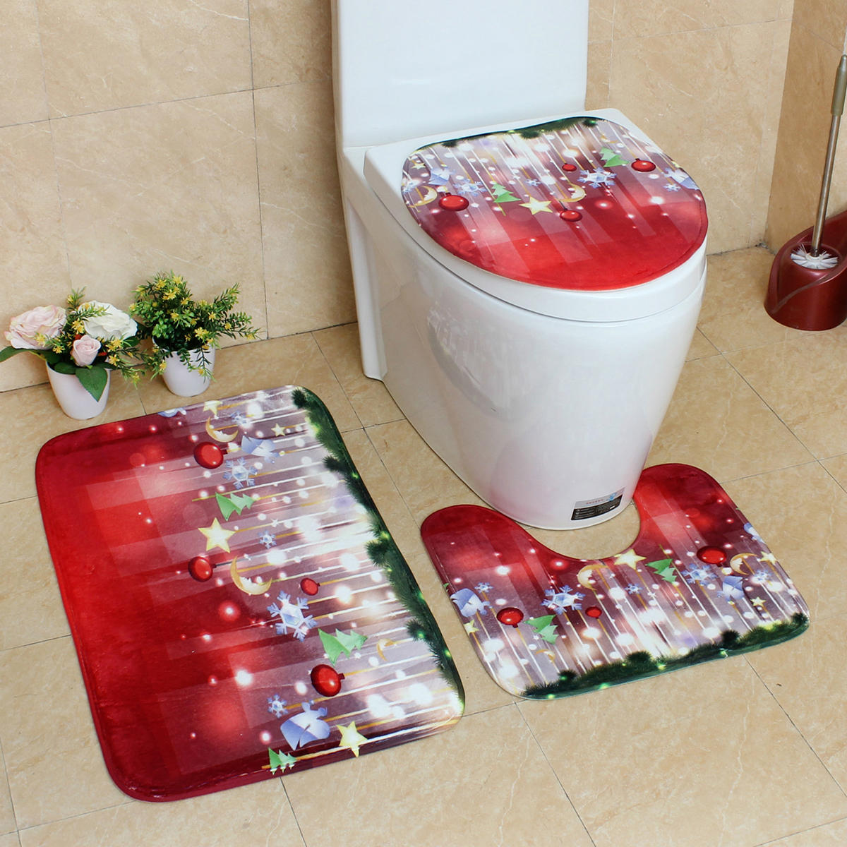 Enjoyable 3Pcs Christmas Foot Pads Toilet Seat Covers Rugs Set Bathroom Set Decoration Xmas Supplies Carpets Washable Squirreltailoven Fun Painted Chair Ideas Images Squirreltailovenorg