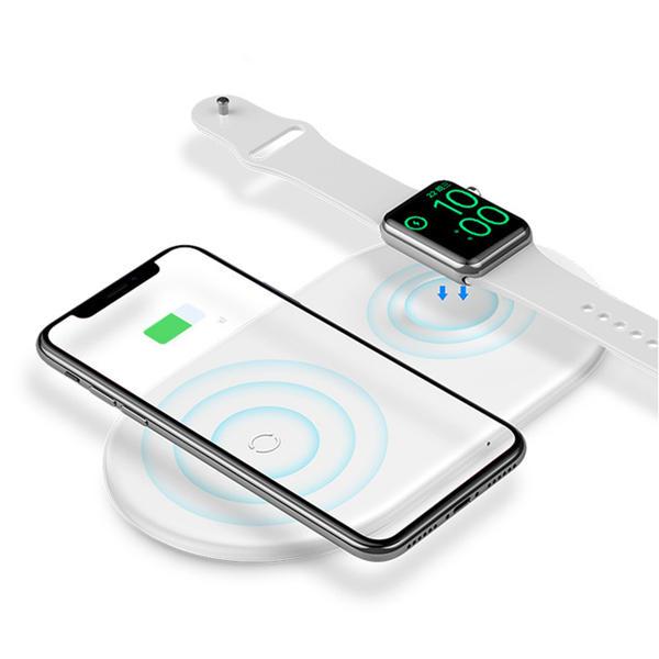 Baseus Almohadilla de cargador inalámbrico magnético de monedas dobles para iPhone X XS XS Max XR 8 manzana Watch 4 3 2