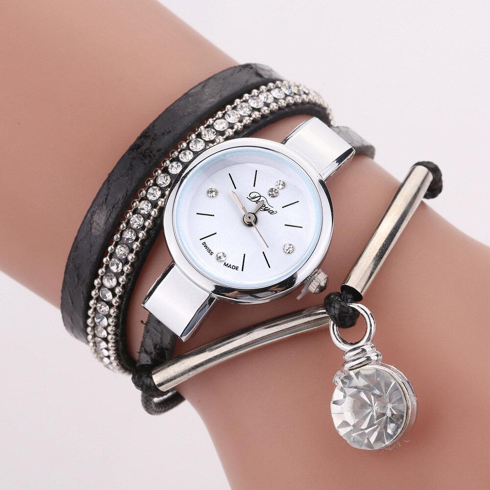 DUOYA D254 Crystal Pendant Women Bracelet Watch Retro Style Leather Strap Quartz Watch