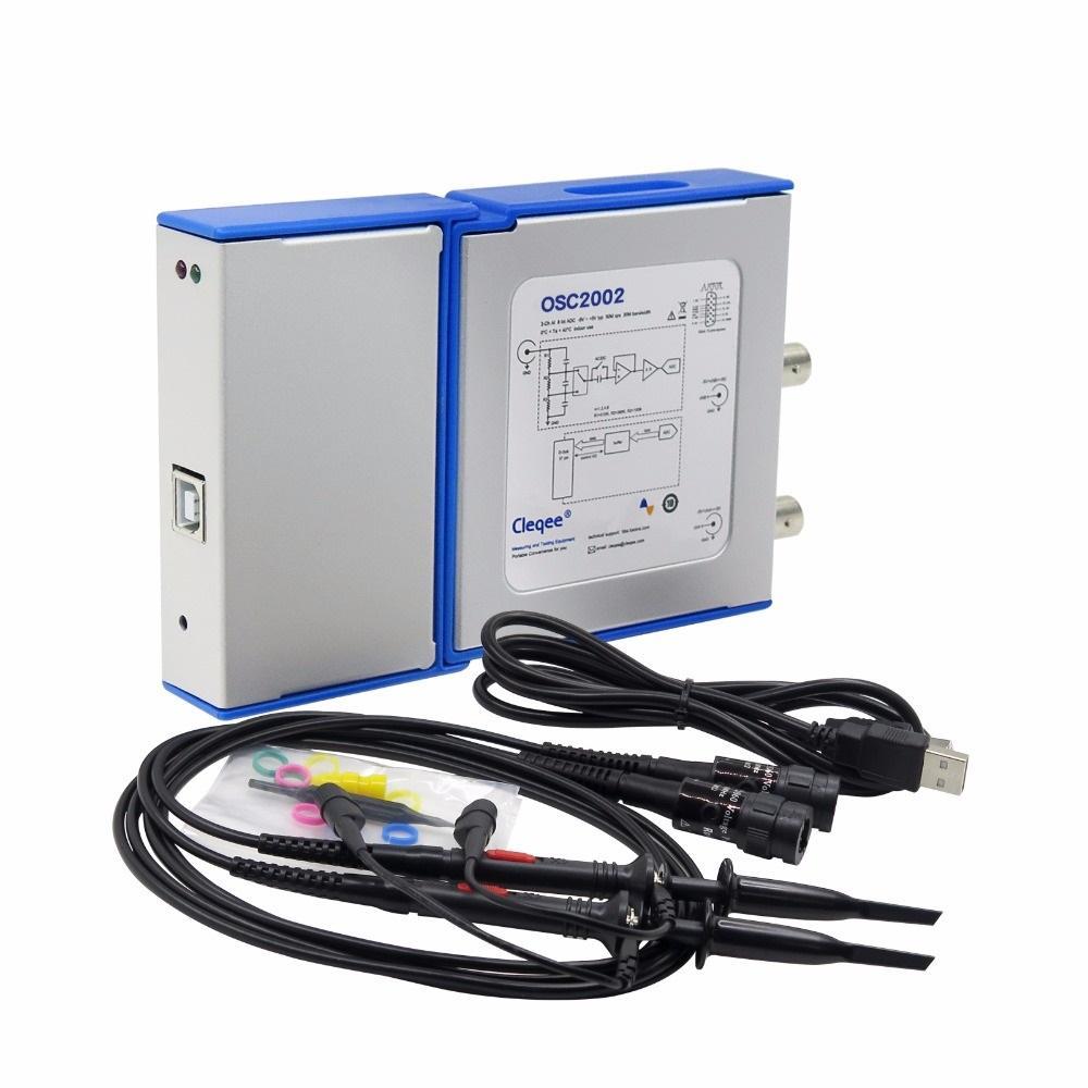 OSC2002 PC Virtual Digital Handheld Осциллограф 2-полосная полоса пропускания 50 МГц Выборка данных 1 ГБ с Зонд USB-кабе