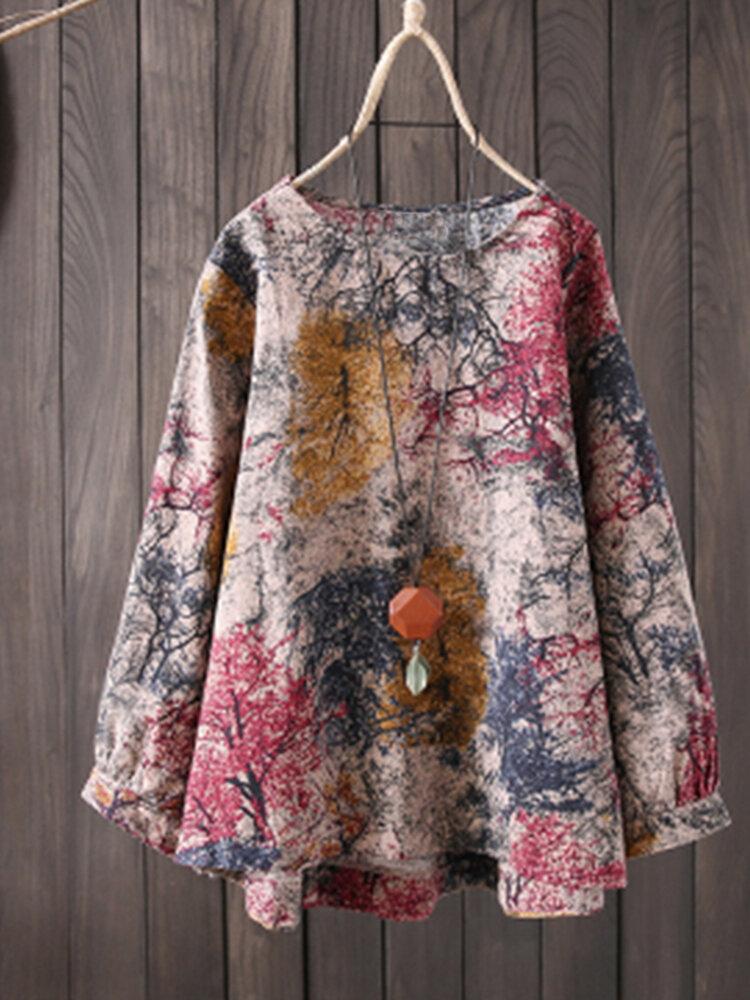Camicia a maniche lunghe in cotone con stampa a colori sciolti, vintage donna S-5XL