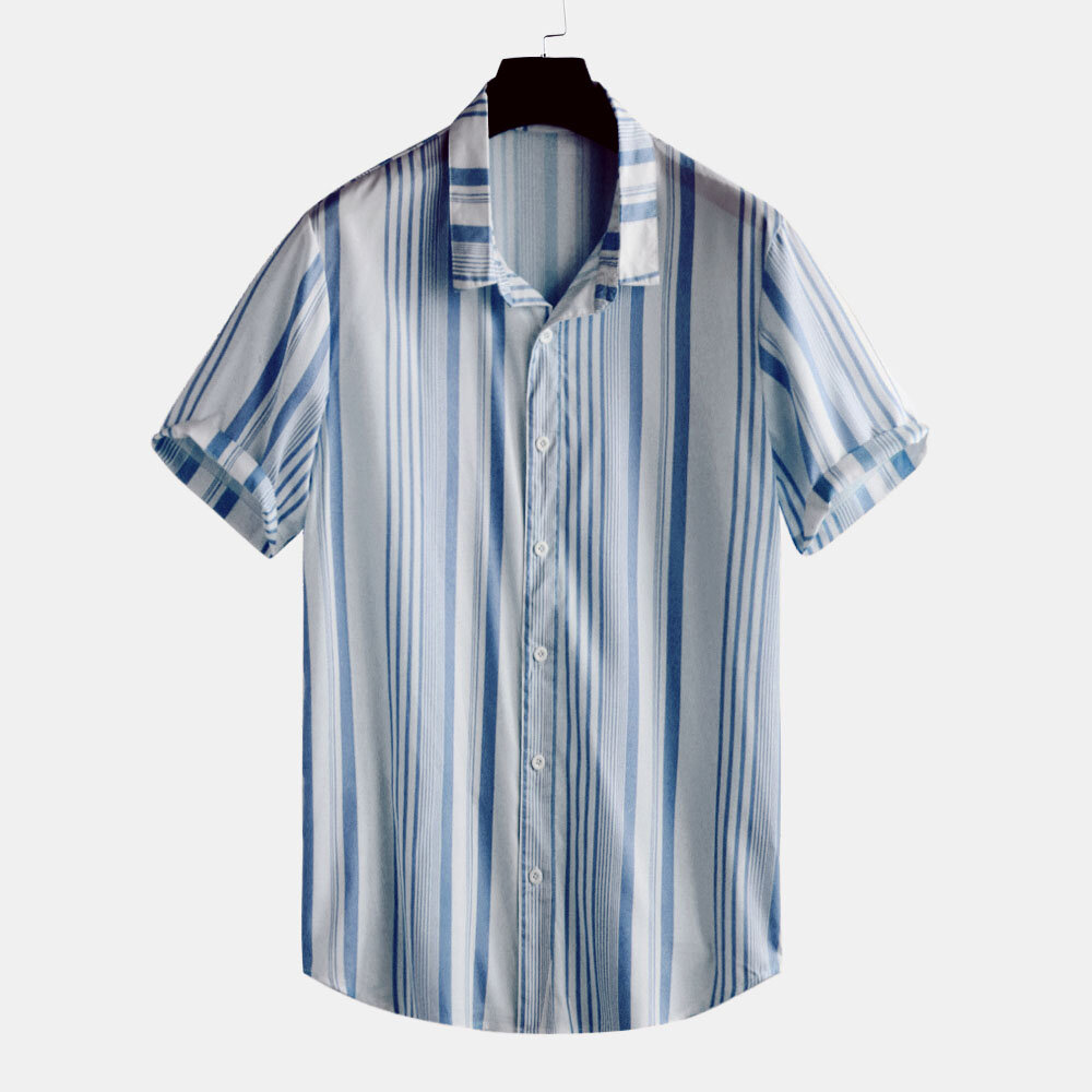 Mens Classic Fashion Summer Casual Short Sleeve Striped Shirts - 4