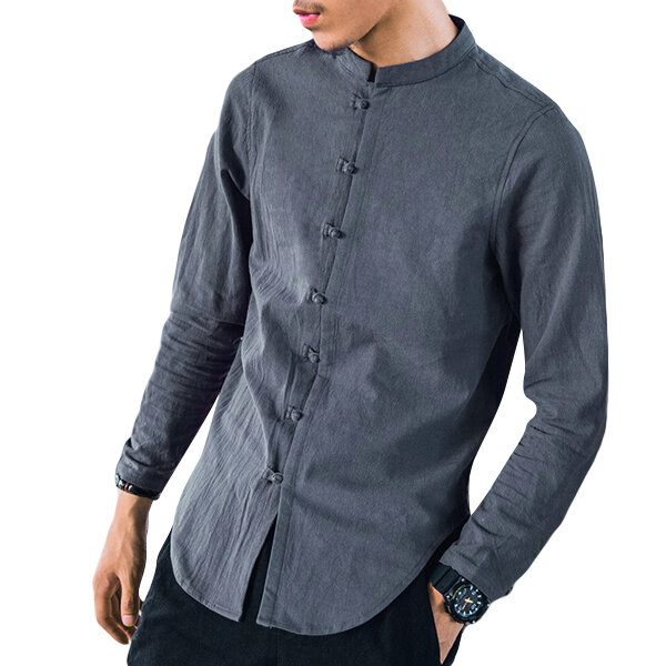 fbbcd50de Vintage Linen Chinese Style Archaic Frog Button Casual Long Sleeve Shirts  for Men - Black S COD