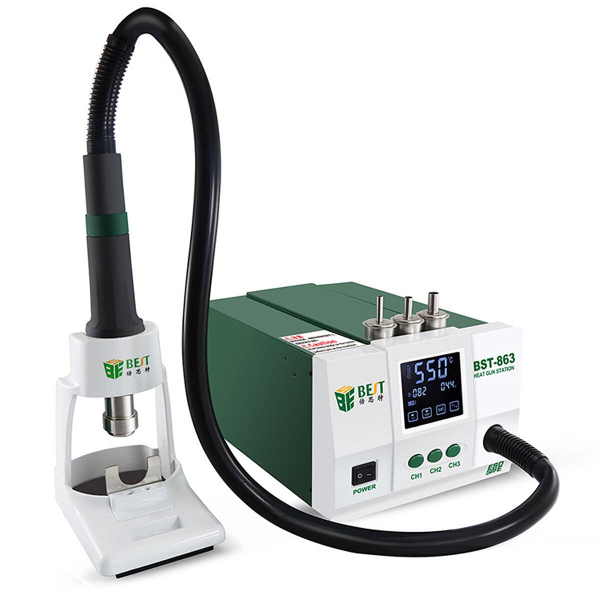 MEJOR BST-863 1200W 220V / 110V Inteligente LCD Pantalla táctil Estación de retrabajo SMD Heat Air
