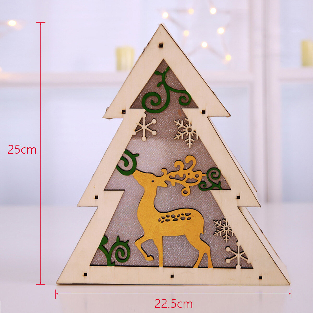 LED Light Christmas Decorations Houten bureau ornamenten - 6