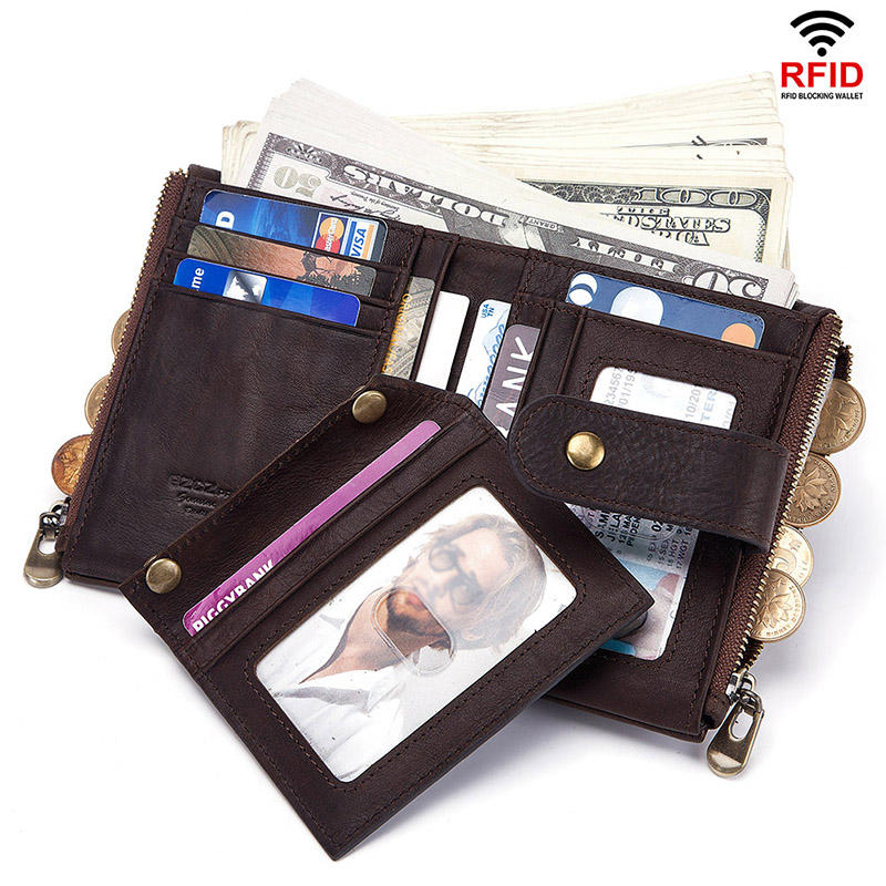 f377a33bcc75 GZCZ Women Men RFID Genuine Leather Coin Bag Detachable Card Holder Wallet