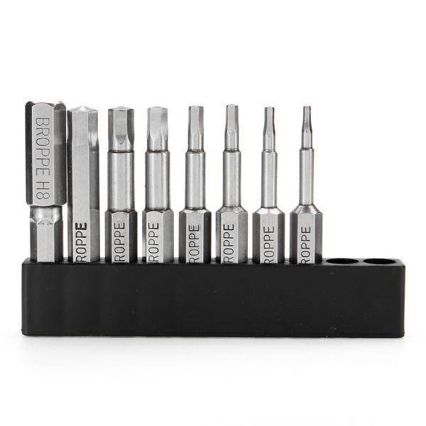 Broppe 8pcs 50mm H1.5 H8 Hex Head Screwdriver Bit 1/4 Inch Hex Shank Magnetic Screwdriver Bits - 4